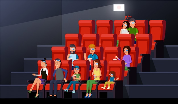 Moviegoers sitting chair rows with popcorn and enjoying film in picture palace. theater interior