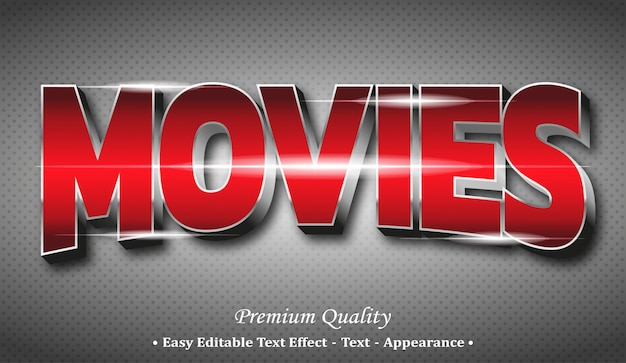 Movies 3d editable text style effect