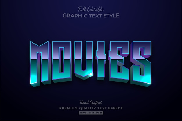 Movies 80's editable text style effect premium