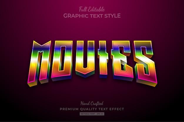 Movies 80's gradient editable premium text effect