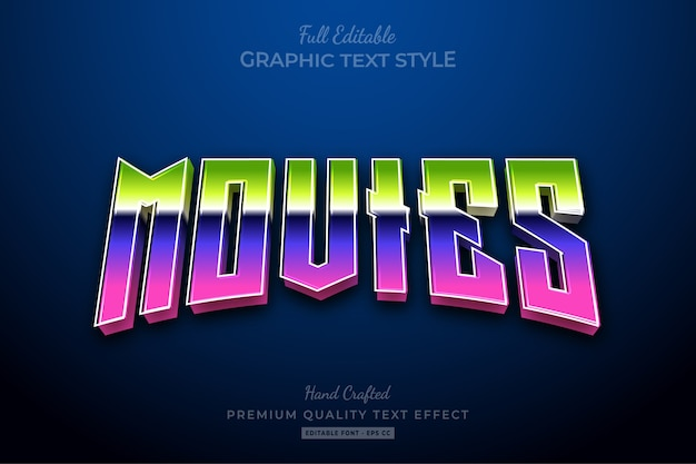 Movies 80's gradient editable text effect