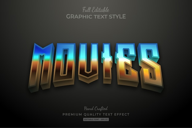 Movies 80's gradient editable   text style effect