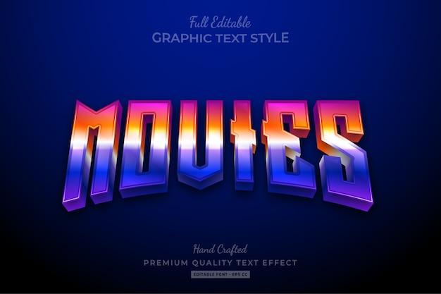 Movies 80's retro gradient editable premium text style effect