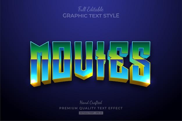 Movies 80's retro gradient editable text style effect premium