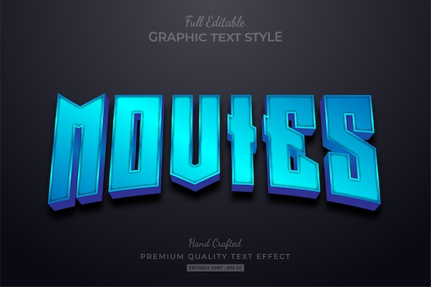 Movies blue editable text effect font style