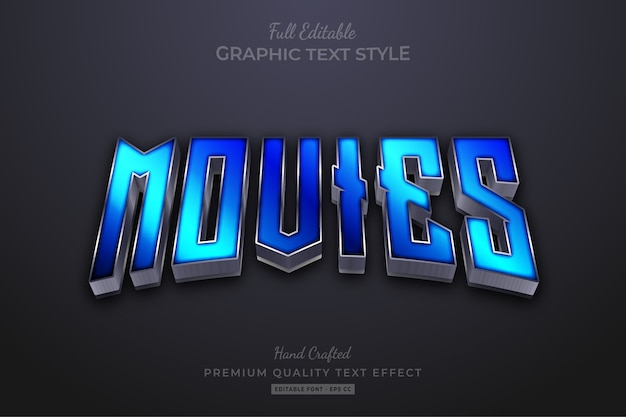 Movies blue editable text effect