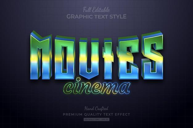 Movies cinema gradient editable premium text effect