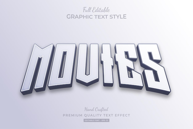 Movies clean editable text effect font style Premium Vector