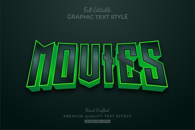 Movies dark green editable text effect