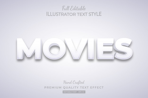 Movies editable 3d text style effect premium