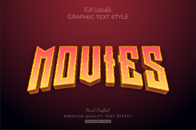 Movies flame editable text effect