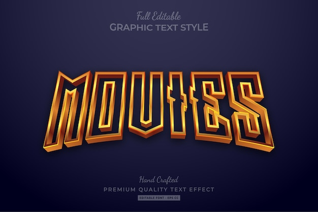 Movies gold editable premium text style effect