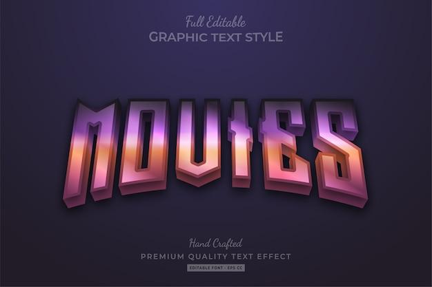 Movies gradient 80's editable premium text style effect