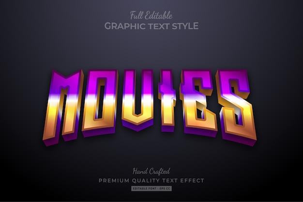 Movies gradient 80's retro editable premium text style effect