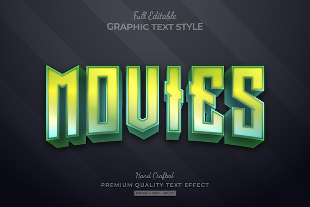 Movies gradient editable premium text effect font style