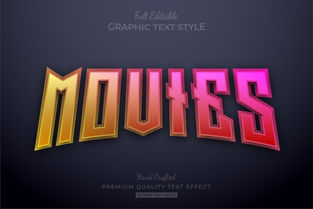 Movies gradient editable text effect font style