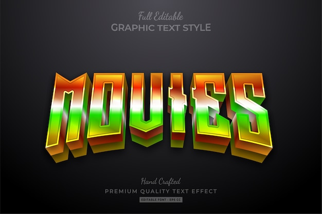 Movies gradient editable text effect