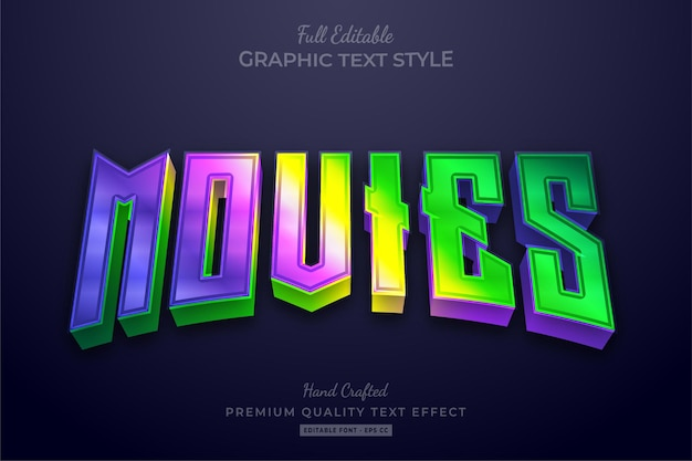 Movies gradient neon editable text effect font style