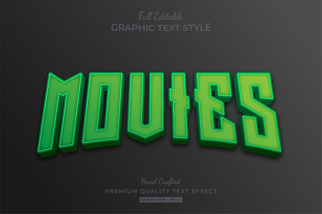 Movies green editable text effect font style