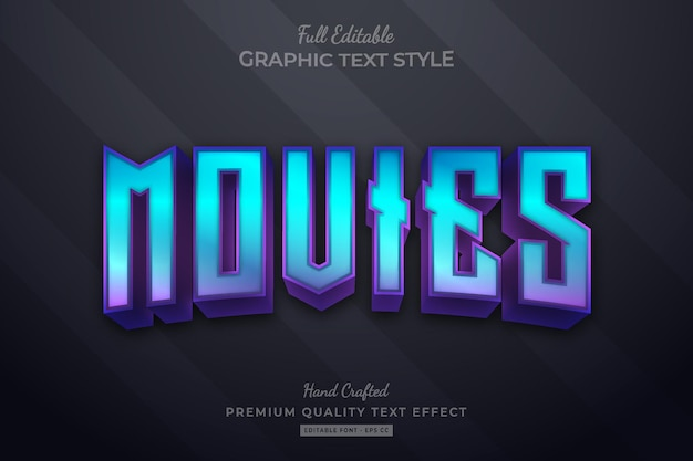 Movies modern editable premium text effect font style