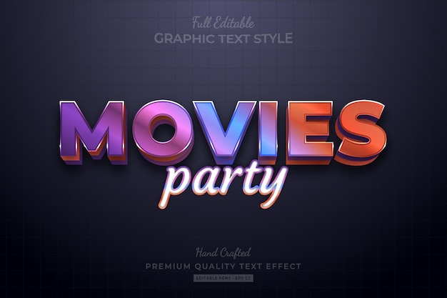 Movies party gradient editable premium text effect font style
