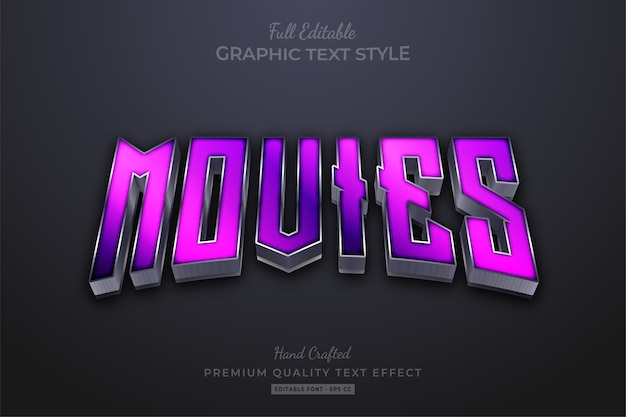 Movies purple editable text effect
