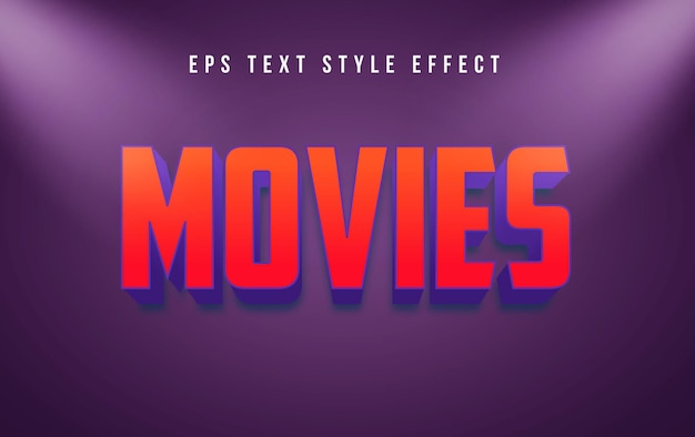Movies red 3d editable text style effect with spotlight