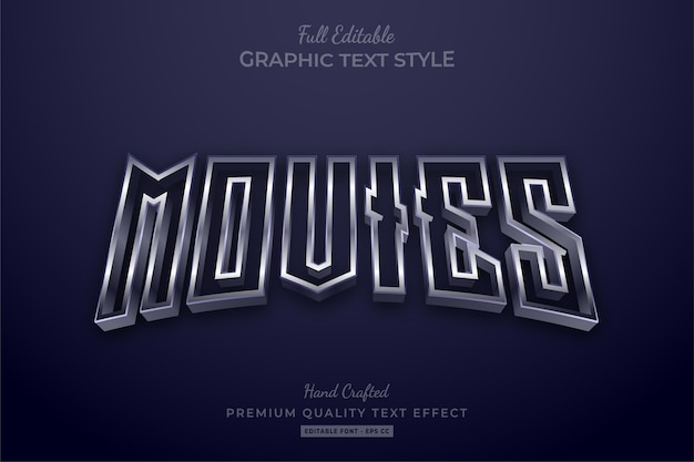 Movies silver editable premium text style effect