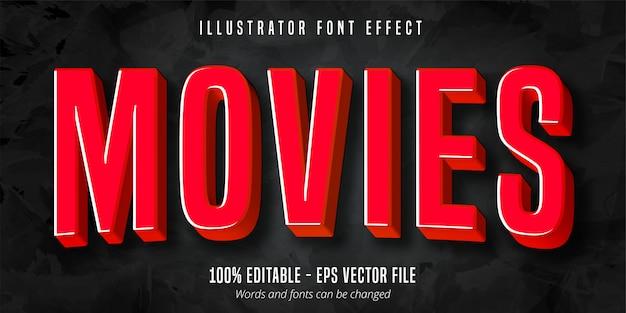 Текст фильма, эффект редактируемого шрифта в стиле красного 3d фильма
