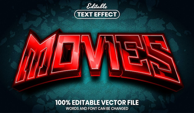 Movies text, editable text effect