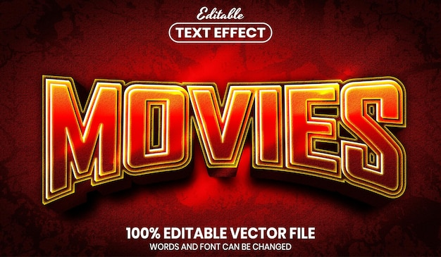 Movies text, font style editable text effect