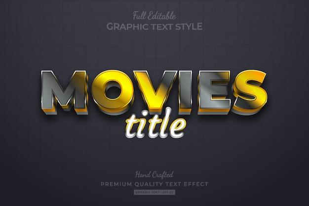 Movies title gold black elegant editable premium text effect font style Premium Vector