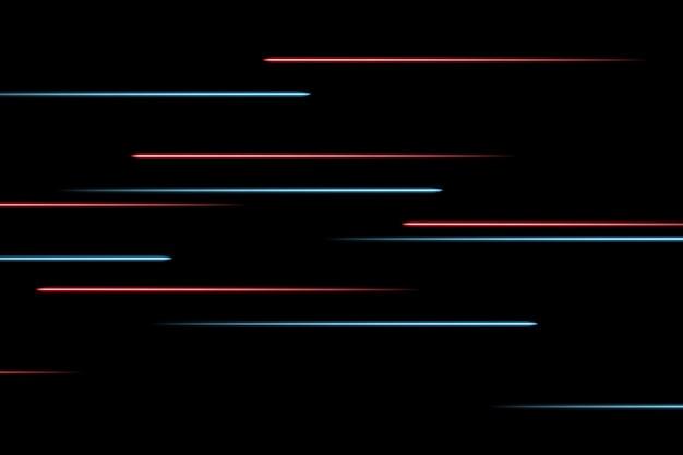 Перемещение абстрактных неоновых линий в пространстве. абстрактные синие и красные неоновые линии в космосе