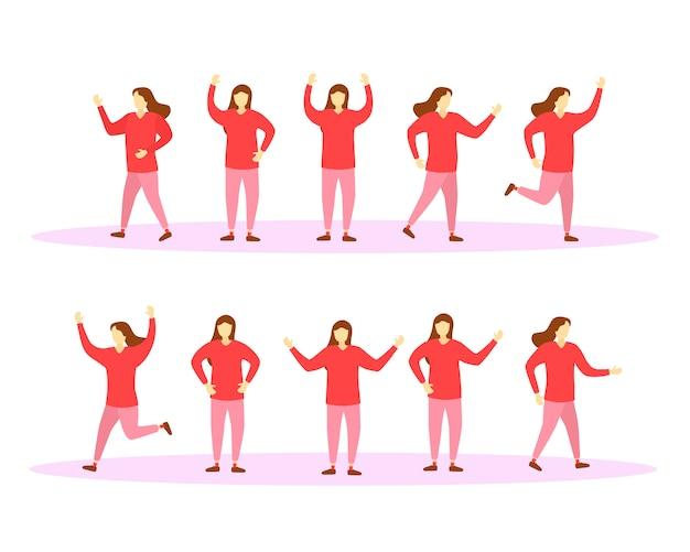 カラフルな服を着たキャラクターの女の子を移動してジャンプします。キャラクター女性のセット。人々は健康的なライフスタイルをリードしています。のイラスト。 。