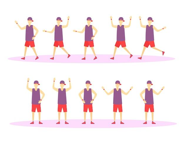 Движущиеся и прыгающие персонажи парни в красочной одежде. люди ведут здоровый образ жизни. набор символов мужчин. иллюстрация в плоском дизайне. ,