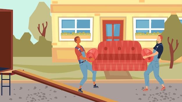이동 및 부동산 개념. 작업복에있는 이사 서비스 작업자가 이사 서비스 트럭에서 가구를 내리고 있습니다. 새 집으로 프로세스 이동.
