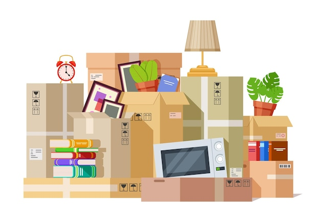 Moving boxes. carton box packing family stuff. cardboard parcels relocation, cargo package to new house. we are moved vector illustration. package cardboard, pack for relocation, carton cargo