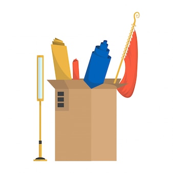 Moving boxes. company moved to new office, home. paper cardboard boxes with various thing. family relocated. delivery box package with various household thing lamp, curtains, rolls, fabric