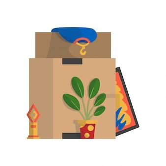 ボックスを移動します。会社は新しいオフィス、家に引っ越しました。いろいろな物が入った紙ダンボール箱。家族が引っ越した。様々な家庭用ランプ、絵、植木鉢、服が入った宅配ボックスパッケージ