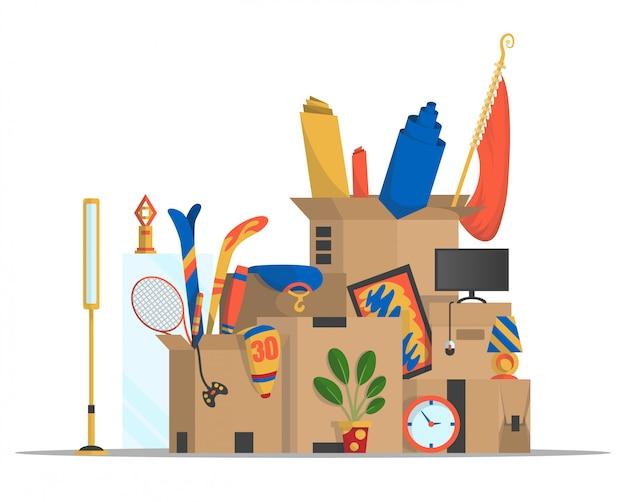 ボックスを移動します。引っ越しのコンセプトです。会社は新しいオフィス、家に引っ越しました。いろいろな物が入った紙ダンボール箱。家族が引っ越した。いろいろな家庭用品が入った宅配ボックスパッケージ