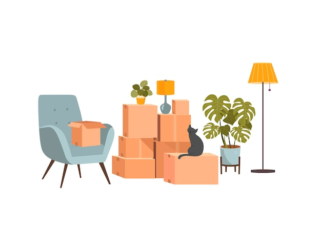 Moving boxes and furniture. vector flat style illustration