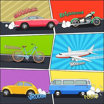 Moving car bicycle motorcycle van and airplane in comic frames