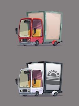 Движущийся грузовик доставки. набор ретро автомобилей. мультяшный стиль.