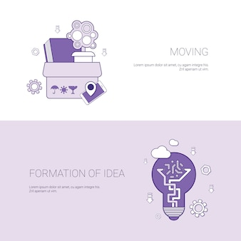 Moving and formation of idea concept template web banner with copy space