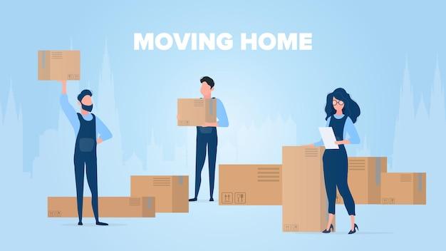 홈 배너 이동. 새로운 곳으로 이사. 무버는 상자를 운반합니다. 판지 상자. 운송 및 상품 배송의 개념. .