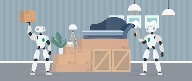 Moving home banner. moving to a new place. a white robot holds a box. carton boxes. the concept of the future, delivery and loading of goods using robots. vector.