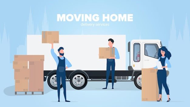 Moving home banner. moving to a new place.