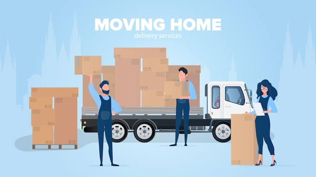 Moving home banner. moving to a new place. Premium Vector