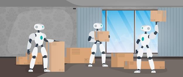 引越しバナー。新しい場所に移動します。白いロボットが箱を持っています。カートンボックス。未来のコンセプト、ロボットを使った商品の配送と積み込み。ベクター。