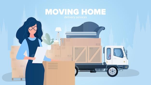 홈 배너 이동. 새로운 곳으로 이사. 하얀 트럭, 소녀가 목록의 가용성을 확인합니다. 판지 상자. 운송 및 상품 배송의 개념. .